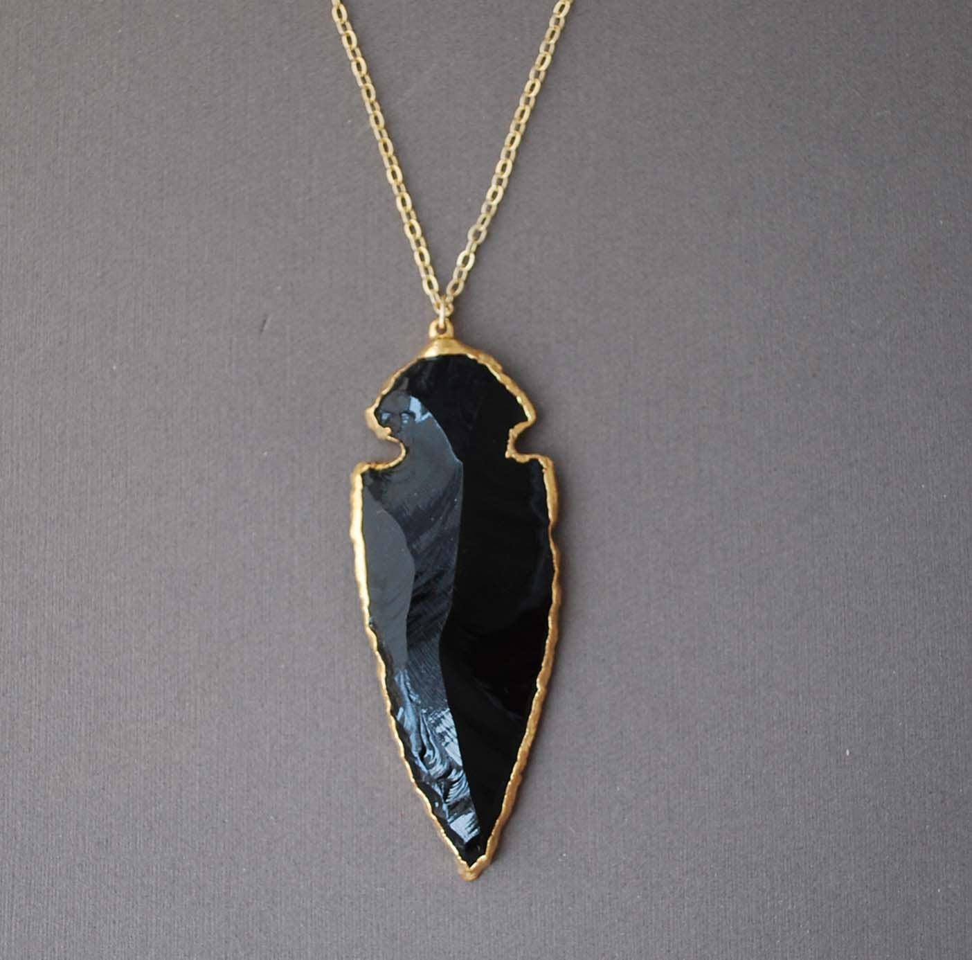 30 black obsidian arrowhead gold necklace