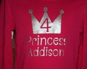 Custom made birthday princess t-shirt