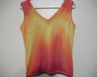 Hand-dyed sleeveless top, size S