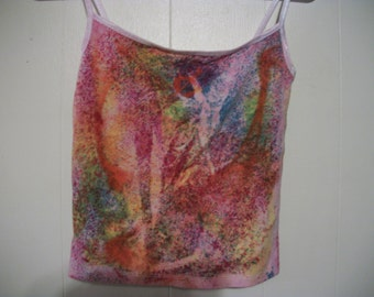 Hand-dyed spaghetti strap top, size M