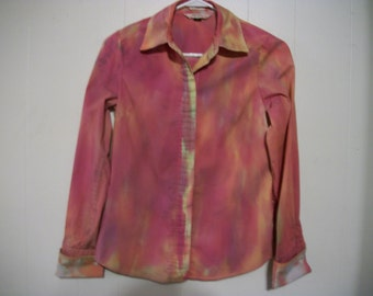 Hand-dyed long sleeved blouse, size S