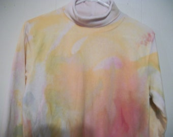 Hand-dyed long sleeved turtleneck tee, size M