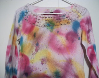 Hand-dyed long sleeved tee with crochet trim, size S