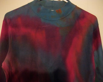 Hand-dyed mock turtleneck long sleeved tee, size L