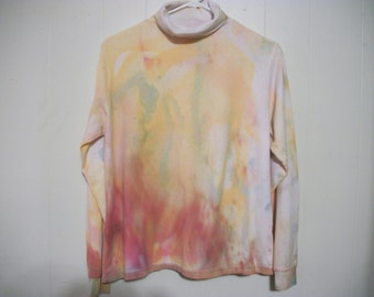Hand-dyed turtleneck long sleeved tee, size M