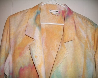 Hand-dyed blazer with 3/4 sleeves, size XL