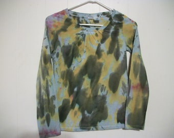 Hand-dyed long sleeved tee shirt, size 14