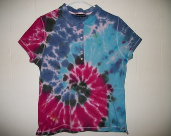 Tiedye polo shirt, size XL