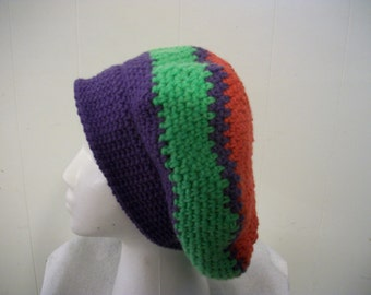 Purple, green and red slouchy crochet hat