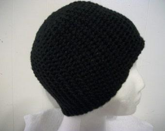 Black crochet hat