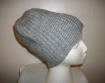 Silver Men's Extra Large Crochet Hat