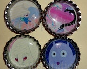 Adventure Time inspired Bottle cap Magnets with Finn and his Luscious Hair, Lady Rainicorn, Treetrunk, and Ice Kings weird horse