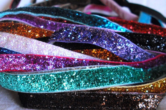 No-Slip Thin Sports Glitter/Sparkly Headband lined with Velvet 3/8|Running|Yoga|Softball|Soccer