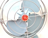 Turquoise General Electric GE Vintage Metal Industrial Fan in great working condition