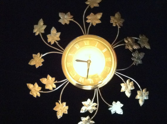 RESERVED for JALICAJIC -- Retro Gold Tone Starburst Wall Clock in Leaf and Vine Design c 1950 1960