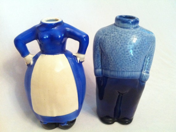 Vintage Comical Headless Ceramic Decanters  c 1960s