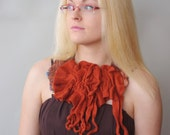 Wool felted neck scarf  - Handmade wool and  silk