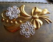 Antique Gold Cut Steel Flower Brooch - Bouquet Floral Pin