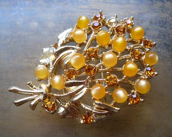 Vintage Yellow Flower Brooch - Amber Rhinestone Moonstone - Gold Bouquet Pin