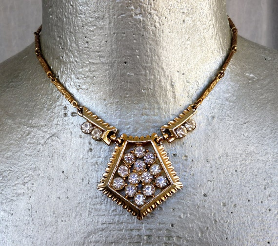 Moving Sale 50% Off Vintage Gold Rhinestone Necklace Hexagon Hollywood Style