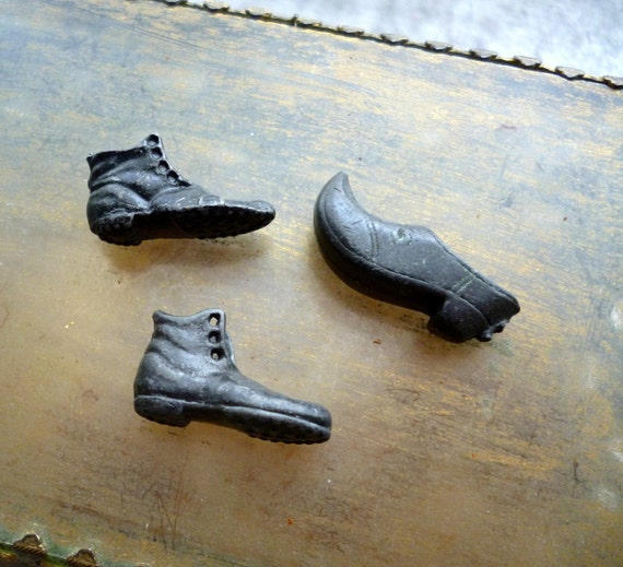 Vintage Cast Metal Shoe Clog Boot Charms - Supplies Crafts Jewelry