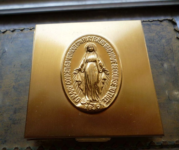 Moving Sale 50% Off Vintage Mary Miraculous Medal Brass Rosary Box
