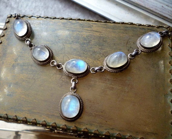 Sterling Silver Rainbow Moonstone Necklace  - Victorian Style Sterling MoonstoneNecklace