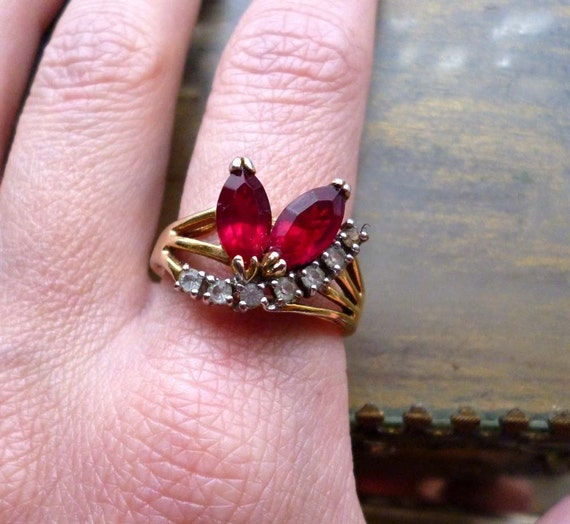 Moving Sale 50% Off Vintage Rhinestone Ruby Garnet Cocktail Ring - Red Rhinestone Ring - Retro Gold Cocktail Ring -