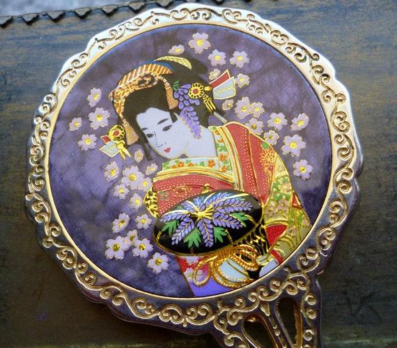 Moving Sale 50% Off Vintage Enamel Japanese Geisha Hand Mirror
