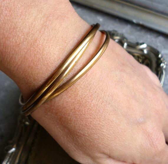 Vintage Gold Bangle Bracelets - 3 Linked