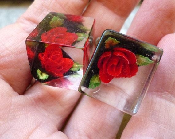 Vintage Red Rose Cube Earrings - Screw On