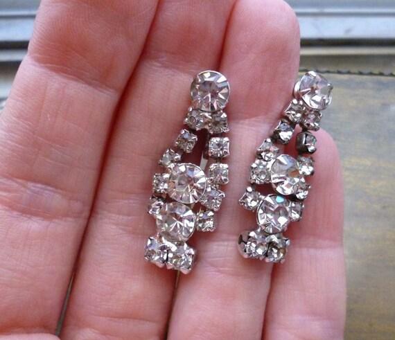 Art Deco Vintage Rhinestone  Earrings - Screw On Back