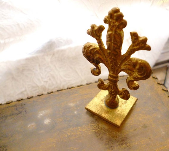 Vintage French Fleur De Lys Brass Wax Seal Stamp Initial A