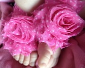 Pink And White Chiffon Baby Flower Shabby Shoes-Sandals in Sizes 0-5 months 6-12 months- Flower Girl-Photography Prop-Baptism