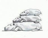 3 Stacked Hippos - Print