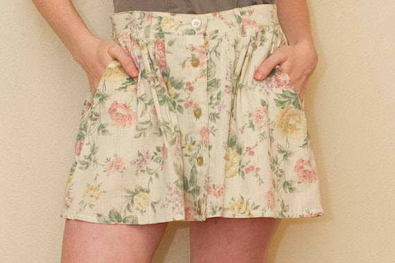 SALE Vintage Skirt. Floral Print  High Waisted Skirt- Remade from Vintage Piece FREE Shipping (Domestic U.S)