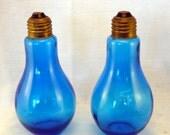Salt and Pepper Shakers - Blue Glass Light Bulbs