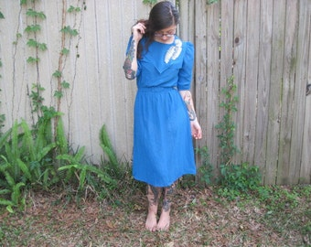 Vintage // Glam 1970's Blue Formal Dress // Sequin Leaf Applique' // C.J.'s size 5 // Sheer Belted Dress