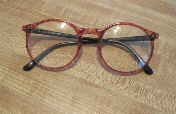 Vintage designer Liz Claiborne round tortoise shell frames