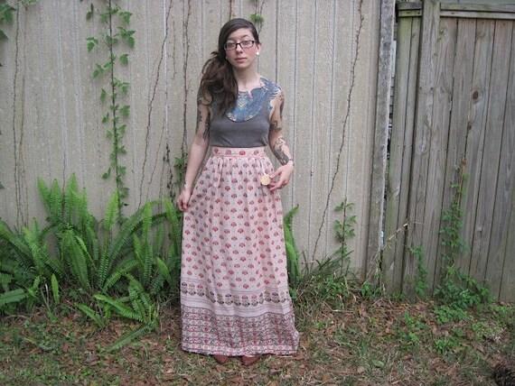 Vintage // Grunge Linen wrap skirt // designer Maxi floral cream // 1960's hippie skirt // california // size S
