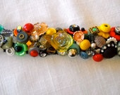 ON SALE  Tutti Fruiti Vintage Button Bracelet