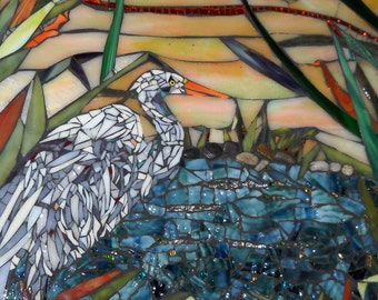 Egret In The Marsh Mosaic Wall Hanging
