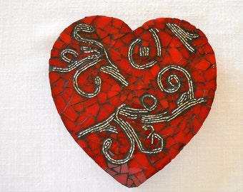 Bead Still My Heart   Red Mosaic Valentine Heart
