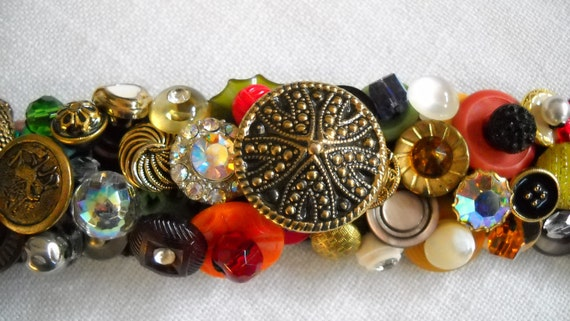 SALE  Tutti Fruiti Vintage Button Bracelet