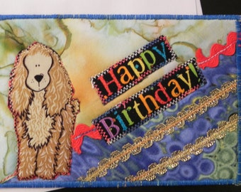 My Best Doggy Friend Happy Birthday Quilted Postcard