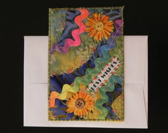 Best Wishes Quilted Postcard