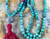 carved tibetan jade mala prayer beads - handcrafted yoga mala with deep burgundy cotton tassel