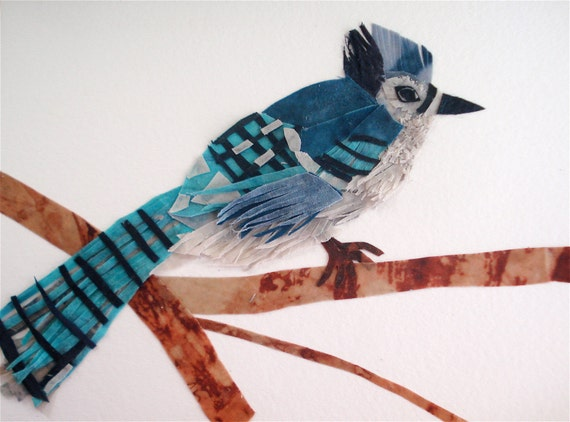 Reserved for Sylvia Batik Fabric Collage Art Blue Jay