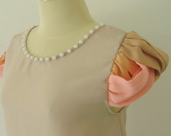 Woven fabric on Sleeve - Cutie Top in Light Stone color