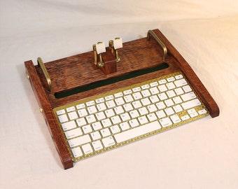 Desktop Workstation - Keyboard - Tablet Dock - Oak - iPad, IPhone, Tablet Bluetooth Keyboard Computer Desktop Workstation